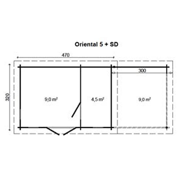 flachdach gartenhaus oriental 5 mit schleppdach 300 cm 4. Black Bedroom Furniture Sets. Home Design Ideas